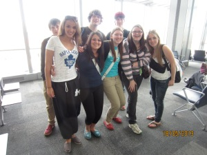 Evan, Asha, Mikey, Sammi, Me, Dylan, Kelsey, Ashley, Toronto Airport