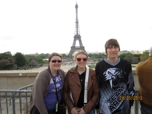 Kelsey, Me and Dylan at the Eiffel Tower, Paris