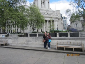 Our first picture actually in London at the World War's memorial.